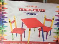 Kids 'Crayon' table & chairs set, brand new in box.