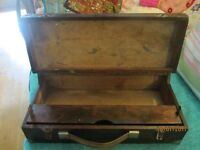 Nice Old Wooden Box with clasps and inner drawer