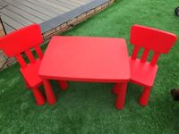 Red Children's table with 2 chairs (ikea)