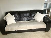 Brown Leather 3 seater Sofa, Chair and Pouffe