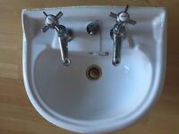 White Two Tap Sink Wash Basin with Taps