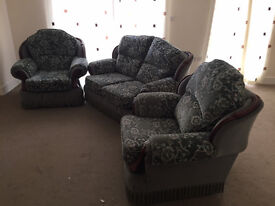 FREE 3 piece suite, green, 2armchairs, 1 two-seater sofa - must collect by Sunday 5th Feb eve!