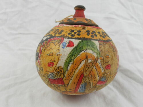 Vintage Hand Painted Primitive Gourd Nepal Tibet Himalayan Folk Art