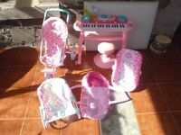 Lot of Girls Play Toys. Piano, Prams, Carriers. For play with Dolls.