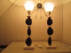 Pair Of Ceramic Art Deco Style Pebble Table Lamps