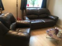 Leather 2 seater sofa and arm chair - can deliver today only - 23rd July
