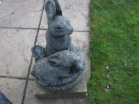 RABBIT GARDEN ORNAMENT WITH OLD PLINTHE