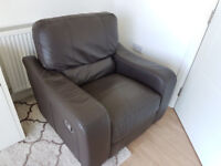 Leather recliner armchair couch single brown 1 seater sofa