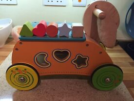 Wooden ride on rabbit shape sorter