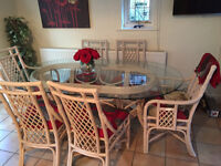 Glass Top Dining Table, 4 chairs and 2 armchairs & matching Wall unit