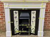 Victorian Style Tiled Cast Iron Fireplace With Sold Wooden Painted Surround