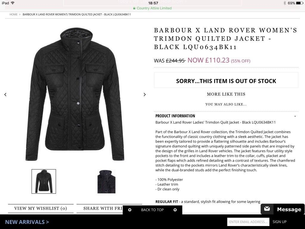 Size 16 Barbour X Land Rover Ladies' Trimdon Quilt Jacket Brand New With Tags RRP £244.95