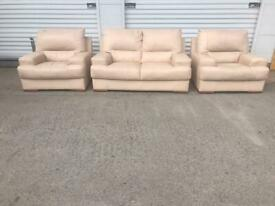 Cream leather sofa set great quality can deliver local 😁🚛👍🏻