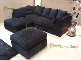 **7-DAY MONEY BACK GUARANTEE!**Desmond Jumbo Cord Corner Sofa or 3 and 2 Set GREY BLACK BROWN MINK