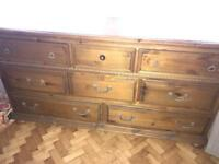 Lovely Oak/Pine Dresser Chest Of Drawers Large 8 Drawers Shabby Chic Upcyle
