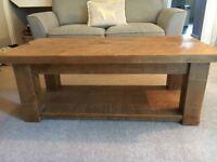 Rustic plank pine coffee table