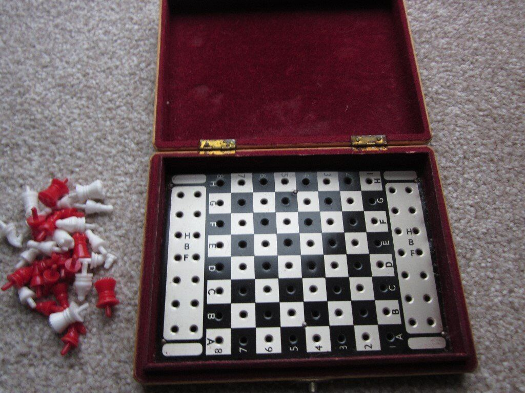 Vintage Travel Chess Set in Wooden Box