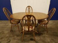 ERCOL GOLDEN DAWN EXTENDING DINING TABLE & 4 ERCOL SWAN BACK CHAIRS SET DELIVERY AVAILABLE