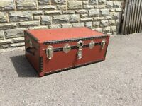 Antique Steamer Trunk Vintage Case Old School Trunk Retro Trunk