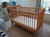 John Lewis Eric dropside cot in pine with mattress