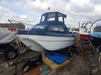 16ft dell quay dory fishing boat with 30hp yamahah outboard on a trailer