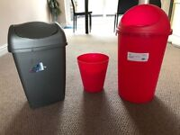 Three Plastic Bullet Bin Rubbish Waste Bins Kitchen Dustbin Flap Lid 25 liter, mop with bucket