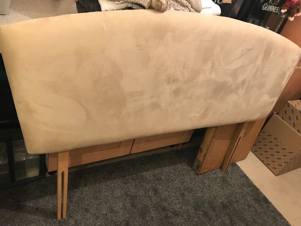 Large BEAUTIFUL king size bed HEADBOARD suede EXCELLENT CONDITION