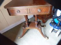 lovely ornate mahogany table with drawers, brass feet, bargain £25, can deliver