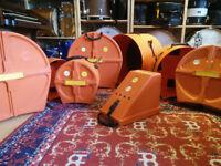 Hardcase Set in Orange Finish with Free Bass Drum Pedal Case.
