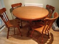 Extendable Oak Table & Four Chairs