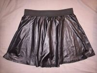 Size 14 black skater skirt / wet look skirt