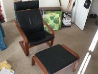 Ikea poang leather chair and footstool