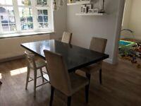 Dark wood / black large extending dining table
