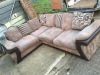 DFS jumbo cord brown and beige large corner sofa