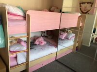 Pink bunk beds immaculate condition with immaculate mattresses as not very old