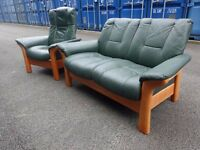 Ekornes Stressless Buckingham Leather Recliner Green Suite,Can Deliver