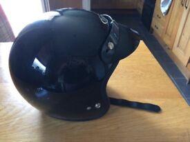 Black motorcycle open face helmet