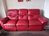 LEATHER ELECTRIC RECLINING SOFA AND CHAIR