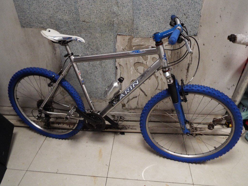 Marin Hawkhill customized Mountain bike, chrome/Blue Aluminium