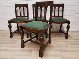 Four Antique Oak Dining Chairs (DELIVERY AVAILABLE)