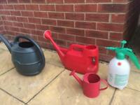 Watering cans and spray can