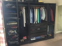 Ikea pax wardrobes black with lights