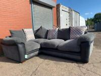 Gorgeous DFS Grey & Black corner sofa delivery 🚚 sofa suite couch furniture
