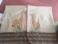 Pair of child's Giraffe Curtains, tap top and lined - Excellent Condition