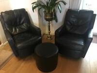 Michael Tyler leather swivel chairs and footstool