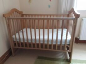 Cosatto Cot with drop side with slots under cot and mattress