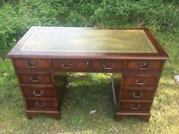 MAHOGANY PEDESTAL DESK WITH LEATHER TOP INSERT