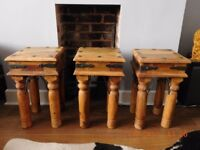 Three Solid Indian Jali Side/Coffee/Plant Tables