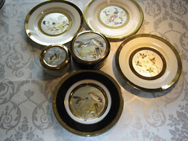 Chokin Collectable Gold Edged plate and 2 lidded pots