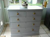 A Victorian Solid Pine 2 over 3 Chest of Drawers (painted soft grey)